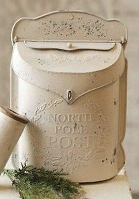 METAL NORTH POLE MAIL BOX SHABBY CHIC Letter Holder Wall Mount French Post hg