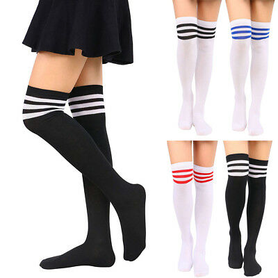 bdbf45ba709 Womens Plus Size Striped Thigh High Socks Sheer Over The Knee Stockings