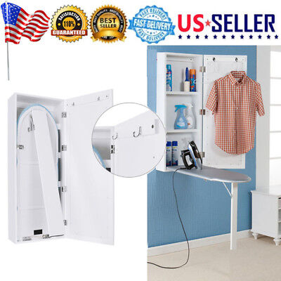 Wall Mount Ironing Board Center Storage Cabinet Shelves For