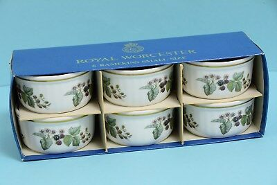 Royal Worcester Six Small Size Ramekins, Lavinia pattern, unused, boxed (HEB127)