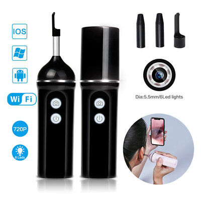 Otoscope Inspection Camera HD WiFi Ear Endoscope With LED Earwax Cleaning Tool