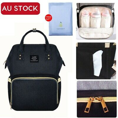 GENUINE LAND Multifunctional Baby Diaper Nappy Backpack Changing Mummy Bag Black