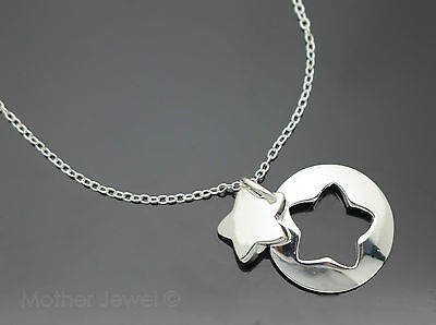 Lovely Gift Star Circle Pendant Sterling Silver Sp 45Cm Rolo Chain Necklace