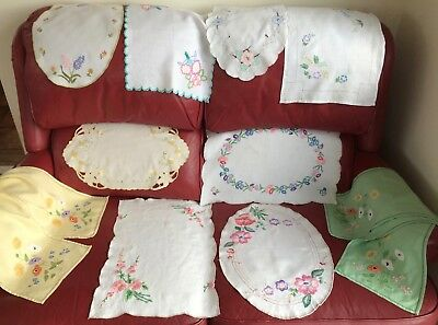 Job Lot Vintage Embroidered Tray Cloths & Runners