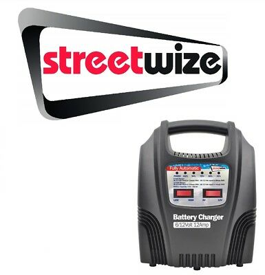Streetwize 6/12v 12 Amp Fully Automatic Car Battery Charger - SWBCLED12