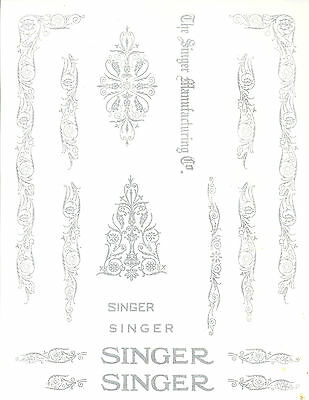 Singer Model 66/99 Filigree  Sewing Machine Restoration Decals Silver