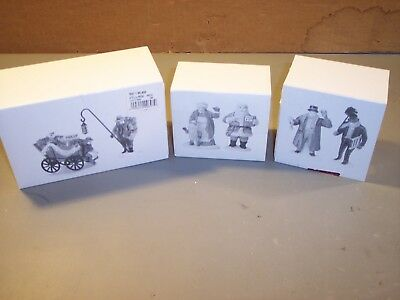 3 DEPT. 56 HERITAGE VILLAGE. Town Crier, Santa & Mrs Claus, Chelse Market NEW