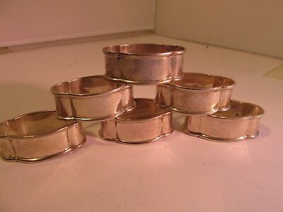 solid silver set of 6 napkin rings