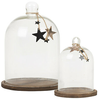 Festive Glass Display Bell Jar Dome Cloche Base Decorative Desk Vintage Stand