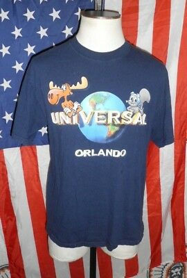 VTG 90s Adventures of Rocky & Bullwinkle Universal Studios Orlando T-Shirt LARGE