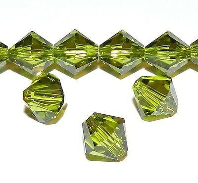 SCB674 Olivine Green 8mm Xilion Faceted Bicone Swarovski Crystal Beads 12pc