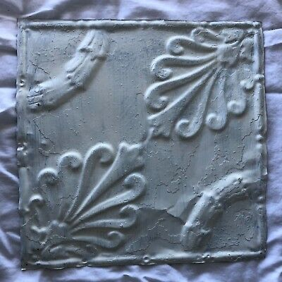 1890's 12 x 12 Antique Tin Ceiling Tile white Metal Reclaimed Anniversary 529-18