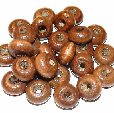 W228 Brown 18mm Hand-Cut Rondelle Wood Spacer Beads 25pc