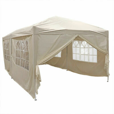 BEIGE FOLDING POP UP GAZEBO 6M x 3M  MARQUEE CANOPY PARTY WEDDING TENT WIDO
