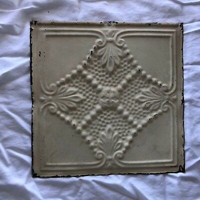 1890's 12 x 12 Antique Tin Ceiling Tile Ivory Metal Reclaimed Anniversary 534-18