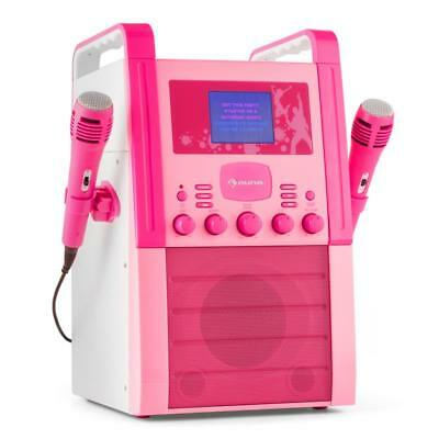 Karaoke Anlage Girl Party Musik Cinch Video Cd Player Farbdisplay 2X Mikros Pink