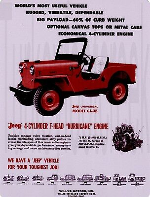 "Willys Jeep CJ-3B  9"" x 12"" Sign"
