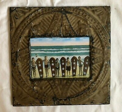 1890's Antique ceiling tin picture frame 5 x 7 tan brown metal reclaimed 545-18