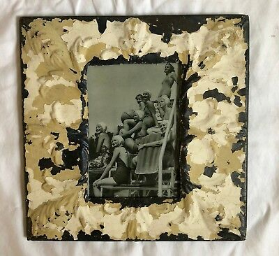 1890's Antique ceiling tin picture frame 5 x 7 Ivory tan metal reclaimed 546-18