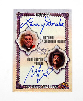 2015 Firefly The Verse Dual Autographs Mark Sheppard Larry Drake #SD Auto