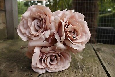 3 x BLUSH DUSKY MOCHA PINK ARTIFICIAL SILK ROSES  10cm ON LONG WIRED STEMS