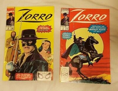 Zorro Marvel Comic Books 1990 First and Second Issues