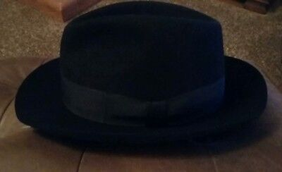 """Exc Cond Mayser Germany Black Trilby Hat Size 61 Xl Large 7 5/8"""" Uk"""
