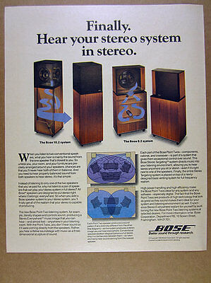 1985 Bose 10.2 & 8.2 Point Two Speaker Systems vintage print Ad