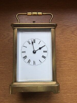 Vintage Brass Carriage Clock Good Working Order 1 Hr And 1/2 Hour Chime