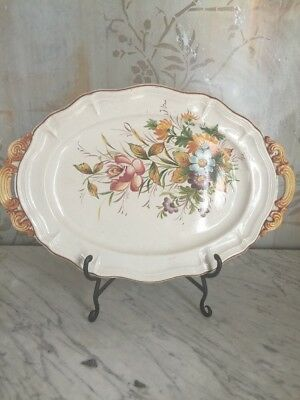 "Vintage Quimper France Faience Floral 20"" Platter W/ Decorative Stand"