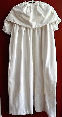 Vintage Antique Infant Coat Cotton Christening Hand Embroidered White Embroidery