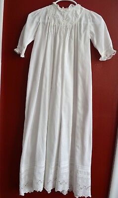 Antique Victorian Christening Gown White Cotton Eyelet Lace Pin Tucks Extra Long