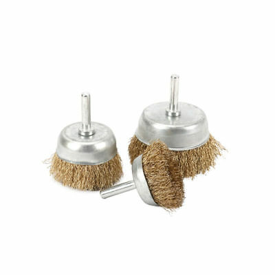 3Pcs 38/50/65mm Brass Coated Stainless Steel Wire Wheel Cup Brush Shank Dia 6mm
