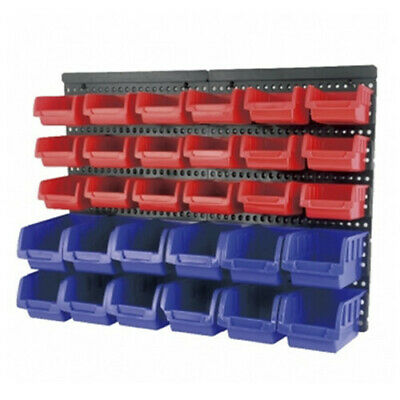 Wall Mounted Storage Rack Removable 30 Bins, Garage Tools Neat Hardware Organise