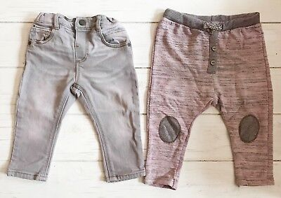 2 ZARA BABY BOYS Stonewashed PINK GRAY JEANS Pants & Play Sweatpants 9-12 months