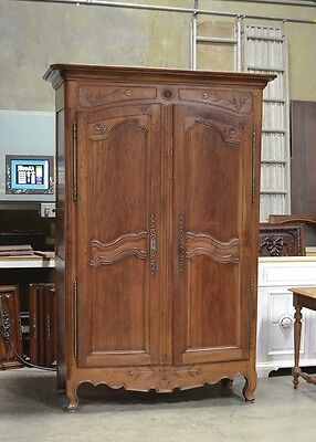 Antique French Country Normandy Style Walnut Armoire
