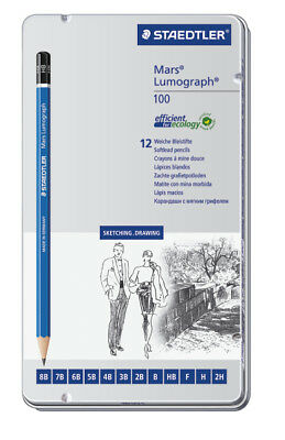 Staedtler Mars Lumograph Drawing Pencils - Soft Degrees (Tin of 12) (Pack of 5)