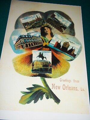 Antique New Orleans Louisiana Postcard 111 Years Old Enlarged To 11 X 17