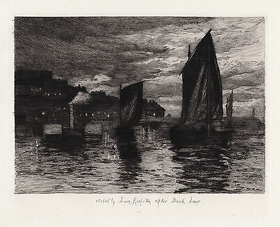 "Amazing 1800s DAVID LAW Nautical Etching ""Whitby Fishing Port"" Framed SIGNED COA"
