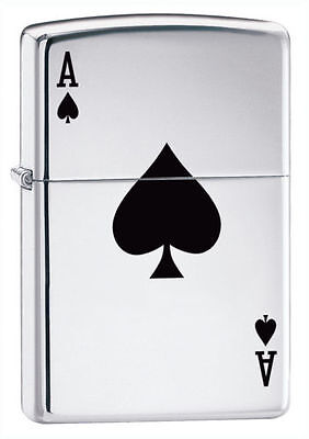 Zippo 24011, Ace of Spades, High Polish Chrome Finish Lighter, Full Size
