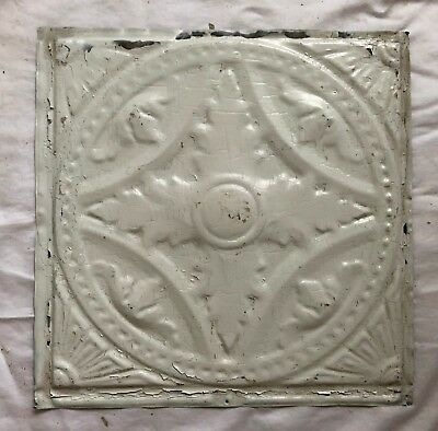 1890's 12 x 12 Antique Tin Ceiling Tile white Metal Reclaimed Anniversary 548-18