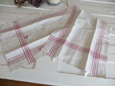 """Unused Large   Handwoven  Linen Towel Runner Dish Cloth Red Stripes 16""""by49"""""""