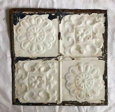1890's 12 x 12 Antique Tin Ceiling Tile white Metal Reclaimed Anniversary 552-18