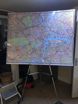 2 X Large Knowledge Lamented Wall Maps Of London With Stand