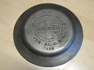 Rare Vintage Griswold Chrome Plated Cast Iron Hot Service Plate #855 Erie Pa 7.5