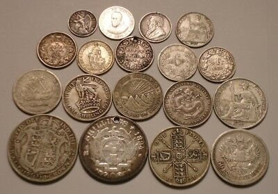 18 piece Mix of SILVER World Coins 3+ oz China South Africa Hong Kong Nicaragua