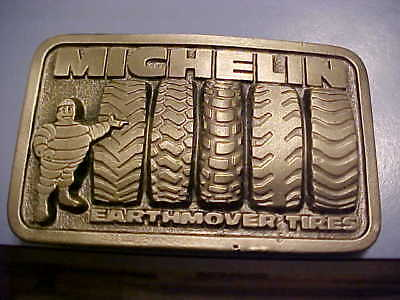 VINTAGE Michelin Earthmover Tires Belt Buckle - SOLID BRASS - NOS - 70's/80's