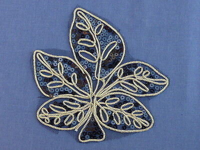 Stunning Black & Gold Applique Leaves Sequins & Braid