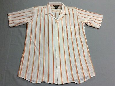 Vintage David Harrison Loop Button Collar Rockabilly Striped Shirt Mens Small
