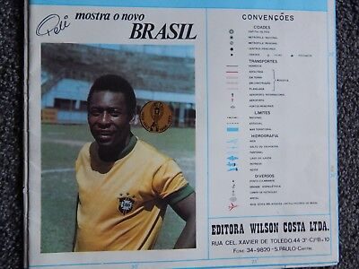 Large 1974 Map of Brazil With Pele Photograph